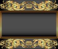 Rocznika tła rama z złoto ornamentami i koroną royalty ilustracja