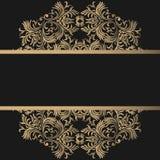 Rocznika tło, antyk, wiktoriański złocisty ornament, barok rama, piękny stary papier, karta, ozdobna okładkowa strona, etykietka; royalty ilustracja