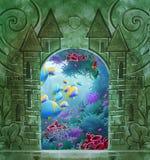 Rocznika tło z kamiennymi cyzelowaniami royalty ilustracja