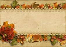 Rocznika tło z pięknymi rabatowymi jesieni dekoracjami Zdjęcia Royalty Free