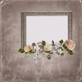 Rocznika tło z ramami Fotografia Royalty Free