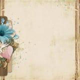 Rocznika tło z turkusu sercem i kwiatami Fotografia Stock