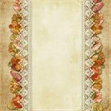Rocznika tło z wspaniałymi kwiatami i koronką Zdjęcie Stock