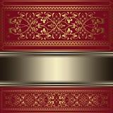 Rocznika tło z złocistymi kwiecistymi ornamentami Obraz Royalty Free