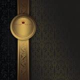Rocznika tło z złoto ramą i dekoracyjnymi wzorami Obraz Stock