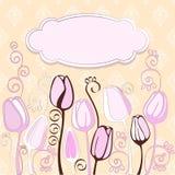 Rocznika tło z dekoracyjnymi tulipanowymi kwiatami. Zdjęcia Royalty Free