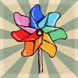 Rocznika tło z wiatraczków kolorami Obrazy Royalty Free