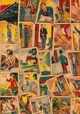 Rocznika tarot karty Fortunetelling z jeden popularne occult Tarot karty obraz stock