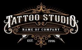 Rocznika tatuażu studio emblem_2 dla ciemnego tła Zdjęcia Royalty Free