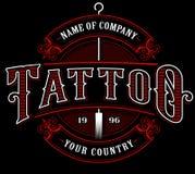 Rocznika tatuażu studio emblem_4 dla ciemnego tła Fotografia Royalty Free