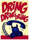 Rocznika telefon dzwoni głośno wystrzał sztuki komiczki projektuje wektorową ilustrację Obraz Stock