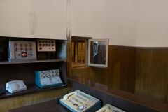 Rocznika telefon i fotografia stock