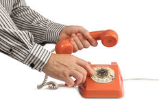 Rocznika telefoniczny dzwoni handset Obrazy Royalty Free