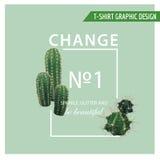 Rocznika Tropikalnego lata Kaktusowy Kierowy Graficzny projekt dla T koszula, moda, druki royalty ilustracja
