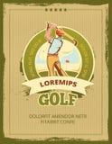 Rocznika turnieju wektoru golfowy plakat royalty ilustracja
