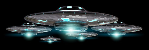 Rocznika UFO odizolowywający na czarnym tła 3D renderingu Obraz Stock