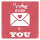 Rocznika valentine dnia karty pojęcia projekt z royalty ilustracja