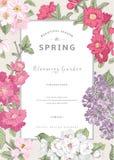 Rocznika vertical karty wektorowa wiosna Obraz Royalty Free