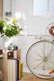Rocznika wciąż życia kwiatów kamery rower Obraz Royalty Free