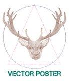 Rocznika wektorowy plakat z rogaczem Zdjęcie Royalty Free