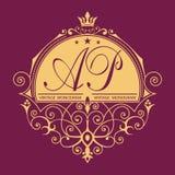 Rocznika wektoru monogram Elegancki emblemata logo dla restauracj, hoteli/lów, barów i butików, Ja może używać projektować wizytó royalty ilustracja