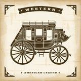 Rocznika westernu Stagecoach ilustracji