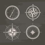 Rocznika wiatru różani kompasy w secie wektor kreda rysująca Fotografia Stock