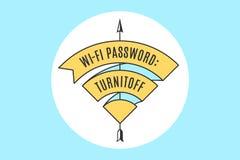 Rocznika WiFi tasiemkowy znak dla bezpłatnego fi w kawiarni lub restauraci ilustracja wektor