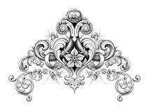 Rocznika wiktoriański ramy granicy kąta monograma kwiecistego ornamentu deseniowego tatuażu Barokowa ślimacznica grawerujący kali royalty ilustracja