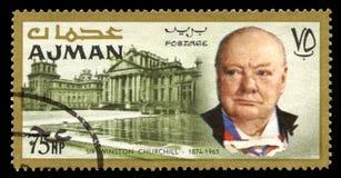 Rocznika Winston Churchill znaczek pocztowy od Ajman Zdjęcia Royalty Free