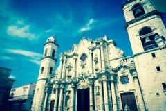 Rocznika wizerunek Hawańska katedra Zdjęcia Stock