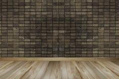 Rocznika wnętrze z ścianą z cegieł i drewnianą podłogą obraz stock