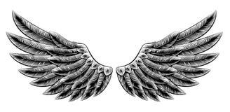 Rocznika woodcut skrzydła ilustracji