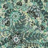 Rocznika wzór w indyjskim batika stylu Kwiecisty wektorowy tło ilustracja wektor