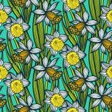 Rocznika wzór z daffodils lub narcyzem. ilustracji