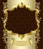 Rocznika złocisty sztandar z koroną na ciemnego brązu baroku backgroun Obrazy Stock