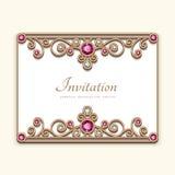 Rocznika złota karta z diamentową biżuterii dekoracją Zdjęcia Royalty Free