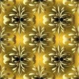 Rocznika złota 3d adamaszka wektorowy bezszwowy wzór Obraz Royalty Free