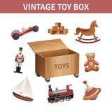 Rocznika Zabawkarskiego pudełka set ilustracji