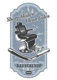 Rocznika zakładu fryzjerskiego etykietka z fryzjer męski żyletką i krzesłem ilustracja wektor