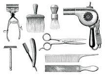 Rocznika zakładu fryzjerskiego narzędzi ręki rytownictwa rysunkowy styl ilustracji