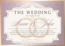 Rocznika zaproszenia Ślubny szablon ilustracji