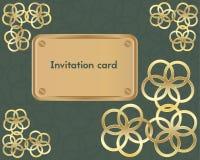Rocznika zaproszenia karta na zielonym tle Zdjęcia Stock