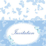 Rocznika zaproszenia karta z błękitnym motylem ilustracja wektor