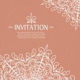 Rocznika zaproszenia karta z koronkowym ornamentem Zdjęcie Stock