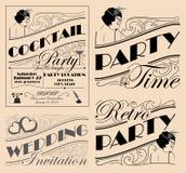 Rocznika zaproszenia projekta partyjni elementy dla różnorodnych wydarzeń Zdjęcie Royalty Free