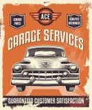 Rocznika znak Klasyczny samochód - garaż - Reklamujący plakat - Zdjęcia Stock
