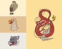 Rocznika zwierz?cia g?owy Logo dla koszulki Dziki Chiński smok, pantera, jastrząbek Przekład imię japończyk ilustracja wektor