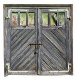 Roczniki starzejący się malujący drewniani garaży drzwi fotografia royalty free