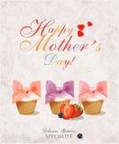 Roczników Mothers dnia Szczęśliwy Typographical tło Plakat z babeczkami w retro stylu Obraz Royalty Free